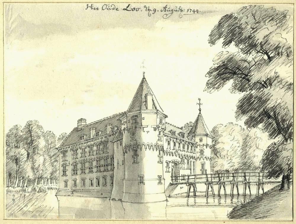 Kasteel het Oude Loo in Apeldoorn. Tekening Jan de Beijer, 1744
